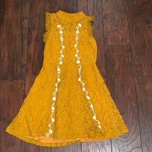 Mustard and White lace Dress